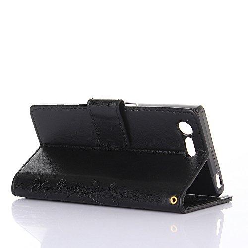 Sony Xperia X Compact Hülle, Sony Xperia X Compact Schutzhülle, Alfort 3 in 1 Lederhülle Fashion Design Premium PU Leder Hohe Qualität Tasche Case Cover Kasten Abdeckung Wallet für Sony Xperia X Compa Schwarz