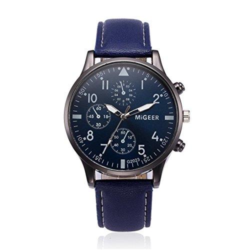 AIMEE7 Montre Homme pas cher Montre Homme Analogique Quartz avec Bracelet en Cuir Mode Watch Conception Vintage Regarder Prime Day Affaires Décontracté De Luxe Montres bracelet (Bleu)