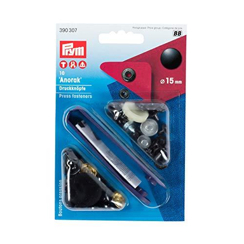 Prym 390307 Nähfrei-Druckknopf Anorak Messing 15 mm schwarz, Metal