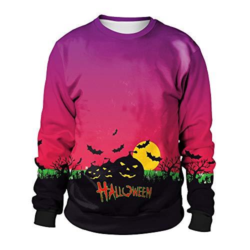 LOPILY Halloween Kostüme Damen Fledermaus 3D Sweatshirts Halloween Gruselige Kürbis Sweatshirt 3D Hoodie Ärger Kürbis Printed Pullover Damen Halloween Party Shirt mit Fledermaus (Lila, 44)