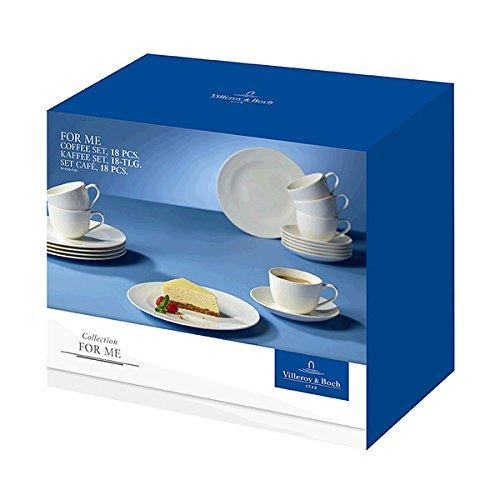 Villeroy & Boch for Me Kaffeeservice für bis zu 6 Personen, 18-Teilig, Premium Porzellan, Weiß