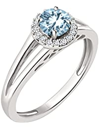 Silvernshine 7mm Aquamarine & Sim Diamond Halo Engagement Ring In 14K White Gold Plated