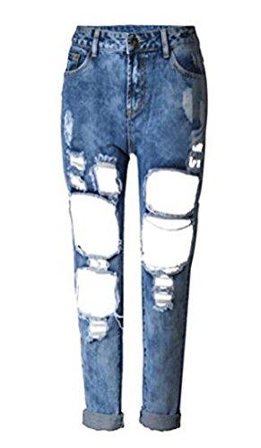 Brinny Damen Jeans Boyfriend Denim Hose röhre mit löchern Loch Jeanshose b0e8823886