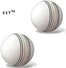 SST Beginner White Cricket Leather Ball 2 Piece (Pack of 2 Balls)Test
