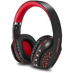 Auriculares Gaming PC, KIPOOH Gaming Headset con Micrófono Plegable, Bluetooth 4.1 Hi-Fi Estéreo Cancelación de Ruido Con 3.5 mm Audio Jack Con Micro Para PC Smartphone Y Tableta
