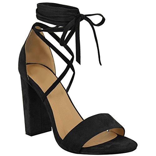 Fashion Thirsty Heelberry - Damen Sandaletten mit hohem Blockabsatz - Knöchelriemen zum Schnüren - Schwarzes Veloursleder-Imitat - EUR 41