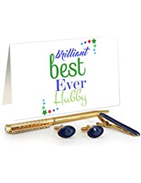 TiedRibbons® Valentine's Day Gifts For Husband Golden Cufflinks,Tiepin And Pen Combo Set With Valentine's Special...