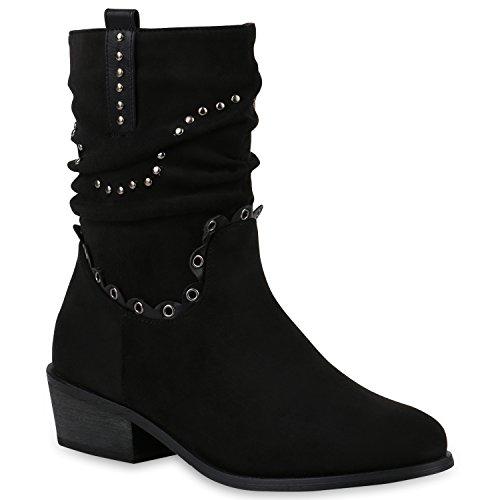 Damen Schuhe Stiefeletten Leicht Gefütterte Cowboy Boots Nieten -