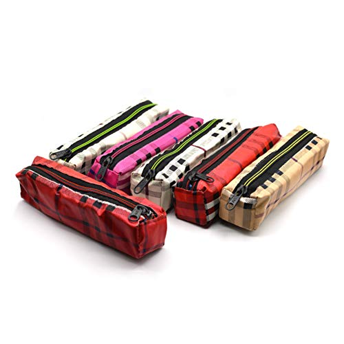 INFInxt Pencil Pen Case Pouch for Travel, School, Small Cosmetic Holder Set of 6 (Double line Print)