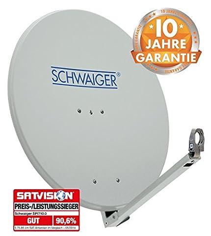 SCHWAIGER -210- Satellitenschüssel, Sat Antenne mit LNB Tragarm und Masthalterung, Sat-Schüssel aus Aluminium, Hellgrau, 74,5 x 84,5 cm