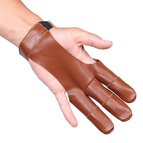 QETY® Bogenschießen 3 Finger Guard Handschuhe, Leder Schießen Schutzgetriebe Für Linke Und Rechte Hand Archer (One),Brown -