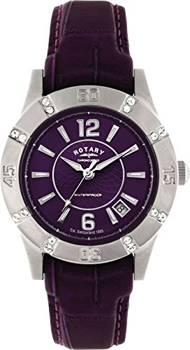 Rotary Ladies Purple Dial Leather Watch