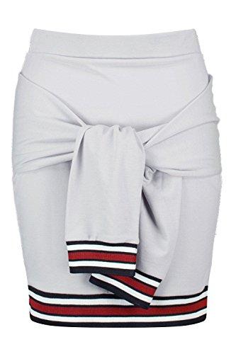 Grau Damen Harlow Minirock Mit Kontrastsaum Und Taillenbindung Grau