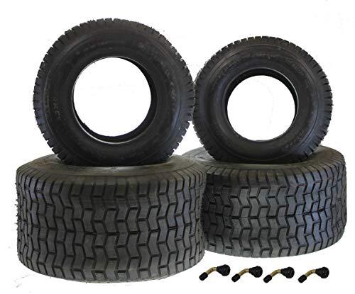 Reifen Satz für Rasenmäher Traktor 2x Reifen 16,65-8 + 2x Reifen 20x10-8 + 4x Winkel-Ventil Rasentraktor Aufsitzmäher (16x8 Traktor Reifen)