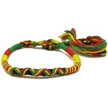 Bracelet Shamballa Tresse Rasta Jamaique Afrique Ajustable Reggae Tissu Tres Fin