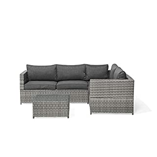 Beliani Classic Rattan Garden Set Corner Sofa Coffee Table Glass Top Wicker Cushions Avola