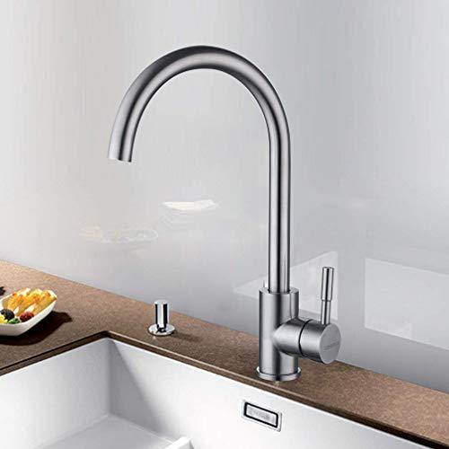 LONHEO 360°Drehbarer Niederdruck Wasserhahn für Küche | Edelstahl Einhandmischer Küchenarmatur Waschbeckenarmatur Spültischarmatur Armatur Mischbatterie für Küche