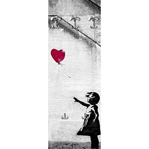 Lupia appendiabiti da parete in legno 3 ganci + 2 portaborse there is always hope 49x139cm