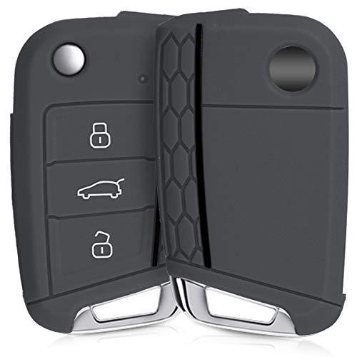 kwmobile Autoschlüssel Hülle für VW Golf 7 MK7 - Silikon Schutzhülle Schlüsselhülle Cover für VW Golf 7 MK7 3-Tasten Autoschlüssel Grau Schwarz