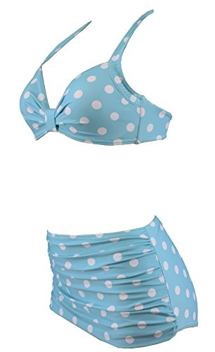 Aloha-Beachwear Polka Dots Vitage Look High Waisted Damen Neckholder Bikini A1061, gepunktet (L / 40 / UK 14, Türkis / Weiss) - 2