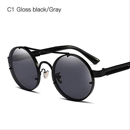 DongOJO Runde Sonnenbrille Herren Retro Mirror Sonnenbrille Classic Shades für Damen Eyewear Pink Glasses 7 C1 Gloss black Grey