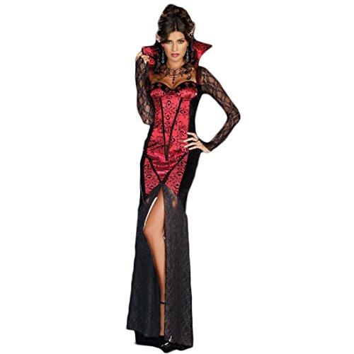 Halloween Sexy Vampir Cosplay Kostüm Frauen Erwachsene Damen Roten und Schwarzen Langen Kleid Vampir-Kostüm,Größe M