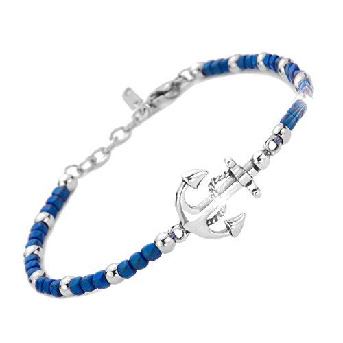 Saga gioielli bracciale uomo ancora acciaio (blu)