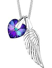 Elli Damen-Kette mit Anhänger Herz, Flügel 925 Silber Kristall Herzschliff lila   45 cm - 0112622414_45