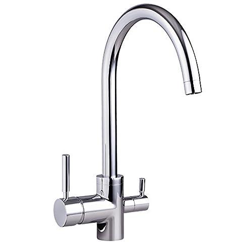 3-Wege-Wasserhahn NEGRO Chrom für kaltes, heißes und gefiltertes Wasser . Für Osmoseanlagen