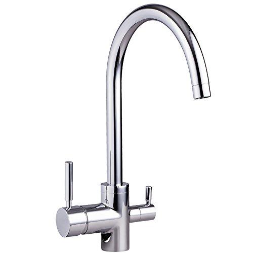 Preisvergleich Produktbild 3-Wege-Wasserhahn NEGRO Chrom für kaltes, heißes und gefiltertes Wasser . Für Osmoseanlagen Trinkwasseranlagen