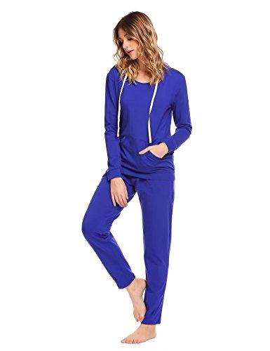 Untlet Damen Schlafanzüge Lange Cotton Pyjama Set Thermo Unterwäsche Set Blau6380