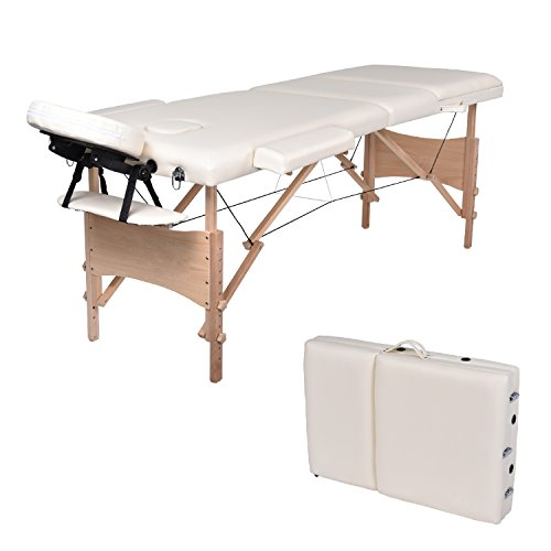 Wellhome lettino da massaggio 3 zone legno pieghevole portatile lettini massaggi professionale tavolo da massaggio tattoo fisioterapia con poggiatesta e bracciolo staccabile, borsa da trasporto xxl(bianco)