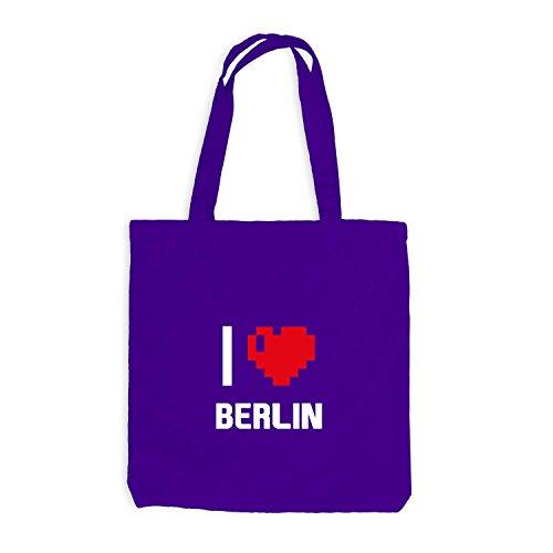 Jutebeutel Deutschland Violett Heart Berlin I Pixel Herz Reisen Love ZZqSw6