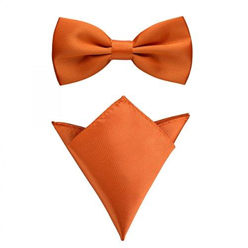 Rusty Bob - Fliege mit Einstecktuch in verschiedenen Farben (bis 48 cm Halsumfang) - zur Konfirmation, zum Anzug, zum Smoking - im 2er-Set - Orange / Apricot