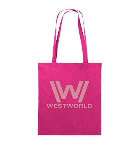 Comedy Bags - WESTWORLD - LOGO - Jutebeutel - lange Henkel - 38x42cm - Farbe: Schwarz / Silber Pink / Rosa
