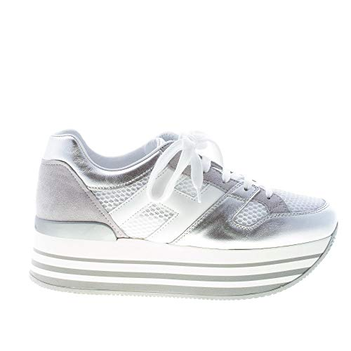 Hogan Donna Maxi H222 Sneaker in Pelle Argento più Bianco Color Argento Size 38