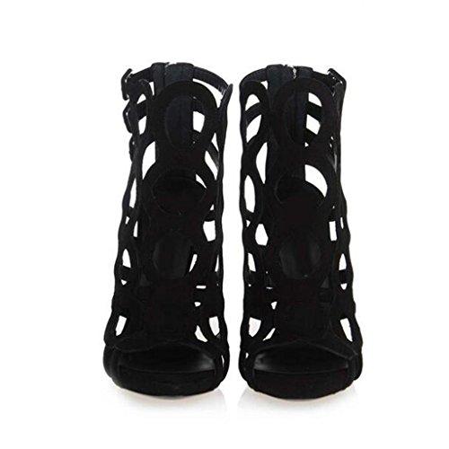 W&LM Signorina Tacchi alti sandali vellutino Maglia Bocca di pesce sandali Ok Vuoto Rete forte Scarpe singole Black