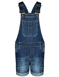 e977461eb07 New Kids Girls Denim Stretch Dark Wash Playsuit Jumpsuit Dungaree Shorts