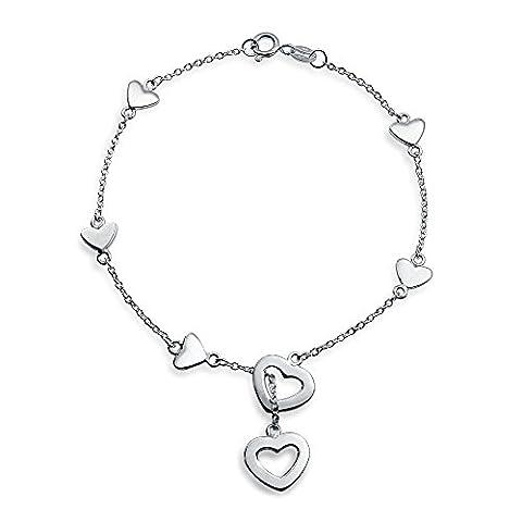 Bling Jewelry Bling cadeaux bijoux 925 Argent Sterling coeur charme a Lariat Bracelet