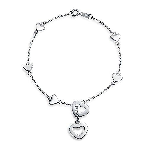 Bling Jewelry 925 Sterling Silver fascino del cuore Lariat Bracciale 7in