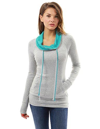 PattyBoutik femmes blouse bicolore avec cordon de serrage à col bénitier à manches longues avec poche gris clair et turquoise