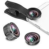 Smartphone Kit Obiettivo, 230 ° Obiettivo Fisheye + 0.5 x Grandangolo + 15 x Lente Macro, 3 in 1 Clip-on Lens kit compatibile per iPhone x, iPhone 8 7 6 6S Plus, Samsung Huawei e smartphone