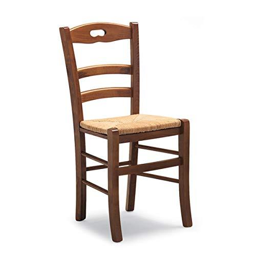 Totò piccinni ordine min. 2pz, sedia loire, in legno di faggio, altissima qualita', l43xp46xa87 cm (noce, seduta paglia)