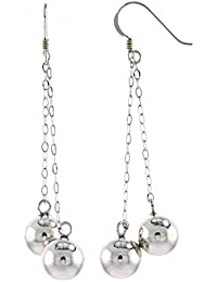 """Revoni Sterling Silver Double Ball French Ear Wire Dangle Earrings, 2 1/2"""" (63mm) tall"""