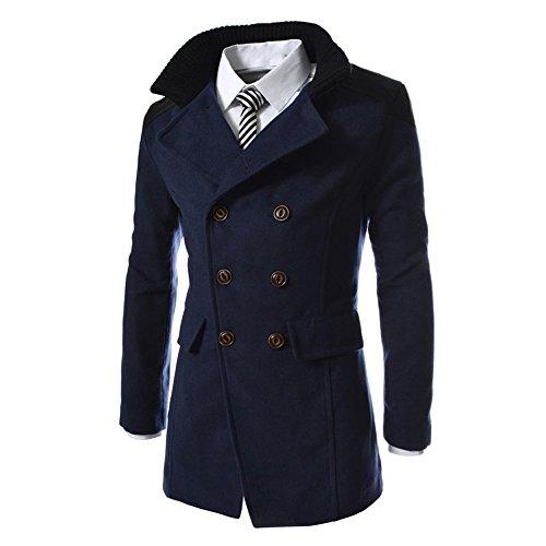 Maglione uomo cappotto inverno lana bavero a doppio petto felpa con cappuccio hoodie maniche lunghe distintivo sweatshirt camicetta dolcevita classico tops qinsling