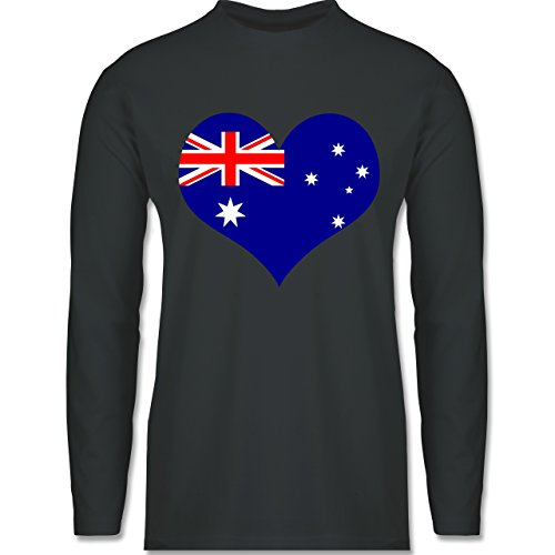 Shirtracer Länder - Herz Australien - Herren Langarmshirt Dunkelgrau