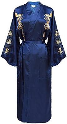 kimono japonés para los mujeres, bata elegante estilo chino : negro, azul o borgoña