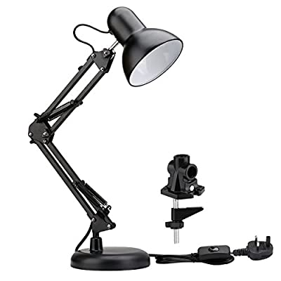 LE Swing Arm Desk Lamps, Table Lamp, Regular E27 Sized Socket, Clamp Mounted, Adjustable Architect Desk Lights from Lighting EVER