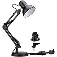 LE Swing Arm LED Desk Lamp E27 Bulb Socket Flexible C-Clamp Table Lamp Classic Architect Bedside Light for Reading Working Studying and More