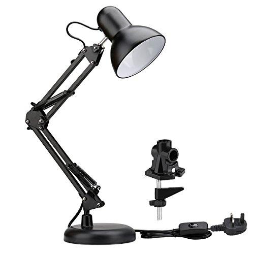 Le Swing Arm Led Desk Lamp E27 Bulb Socket Flexible C